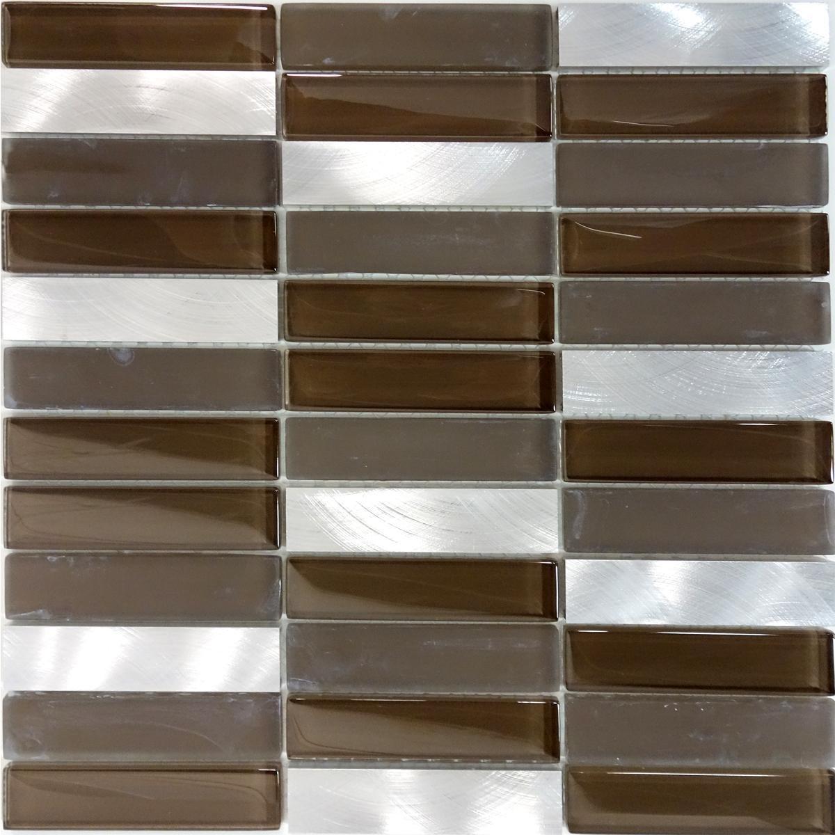Modket TDH220MO Modern Brown Crystal Glass Blended Metallic Aluminum and Matted Glass Mosaic Tile Backsplash