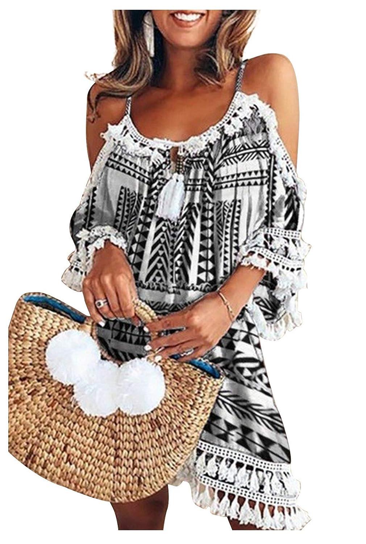 Donna T-shirt Senza Spalline Manica Corta con Frange Patchwork Pizzo Abito Spalle Scoperte Boho Chic Mini Vestito Tunica Taglie Forti Copricostumi e Parei Costumi da Bagno Spiaggia Bikini Cover Up