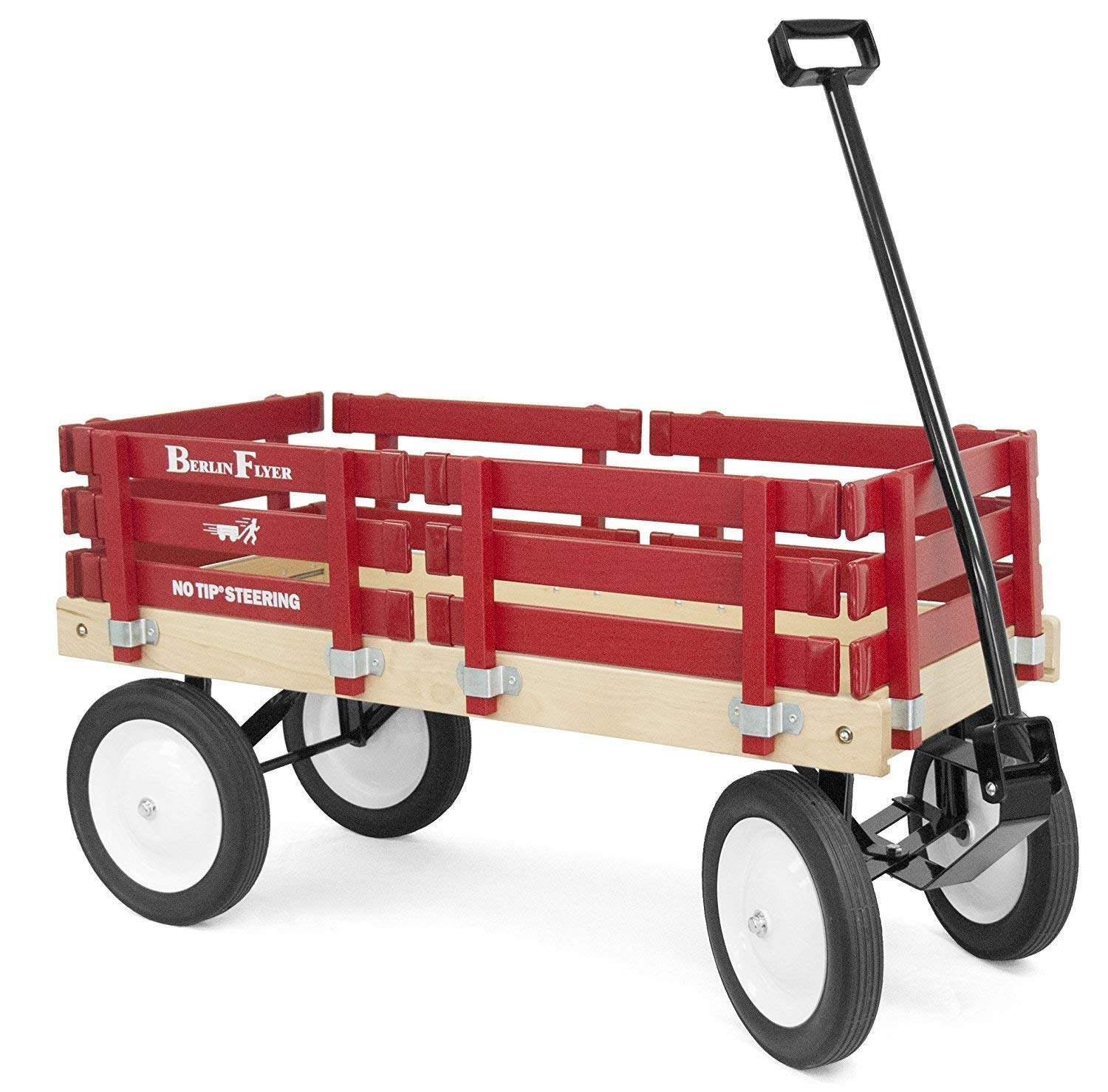 Classic Berlin Flyer Red Wagon for Kids Amish Made in the USA Hardwood Reinforced Steel Body Rubber Tires No Pinch Handle No Tip Steering F310 SS Model