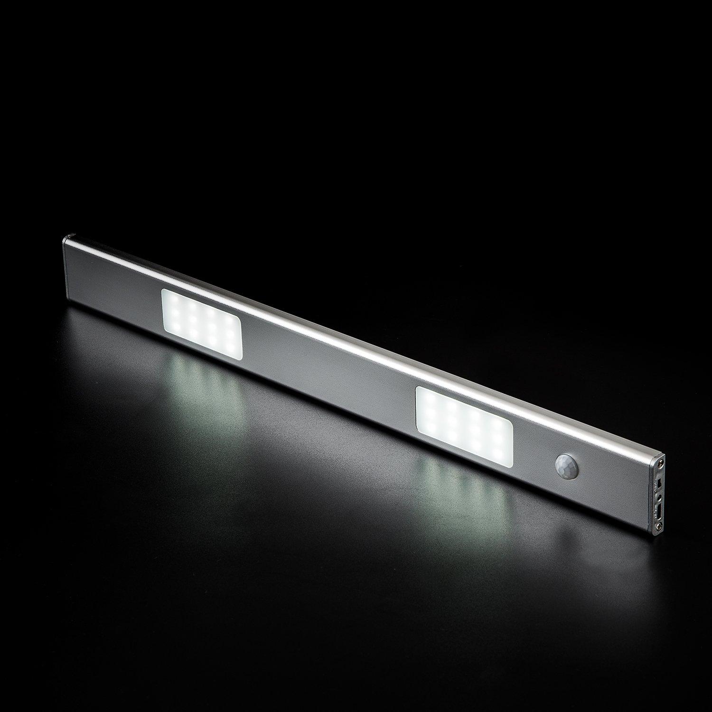 MEETMISS Under Cabinet Light Longer Battery Endurance-Rechargeable Wireless LED Lighting Motion Sensor Activated Night Light for Closet Step Wardrobe Luxury Aluminum