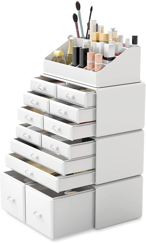 Readaeer Makeup Cosmetic Organizer Storage Drawers Display Boxes Case with 12 Drawers (White)
