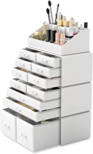 Readaeer Makeup Cosmetic Organizer Storage Drawers Display Boxes Case with 12 Drawers (White)