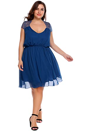 Involand Plus Size Chiffon Dress Cap Sleeve A Line Pleated Cocktail