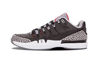 408374a07632cf Nike Mens Zoom Vapor AJ3 Black White-Cement Grey Leather Basketball Shoes Size  6