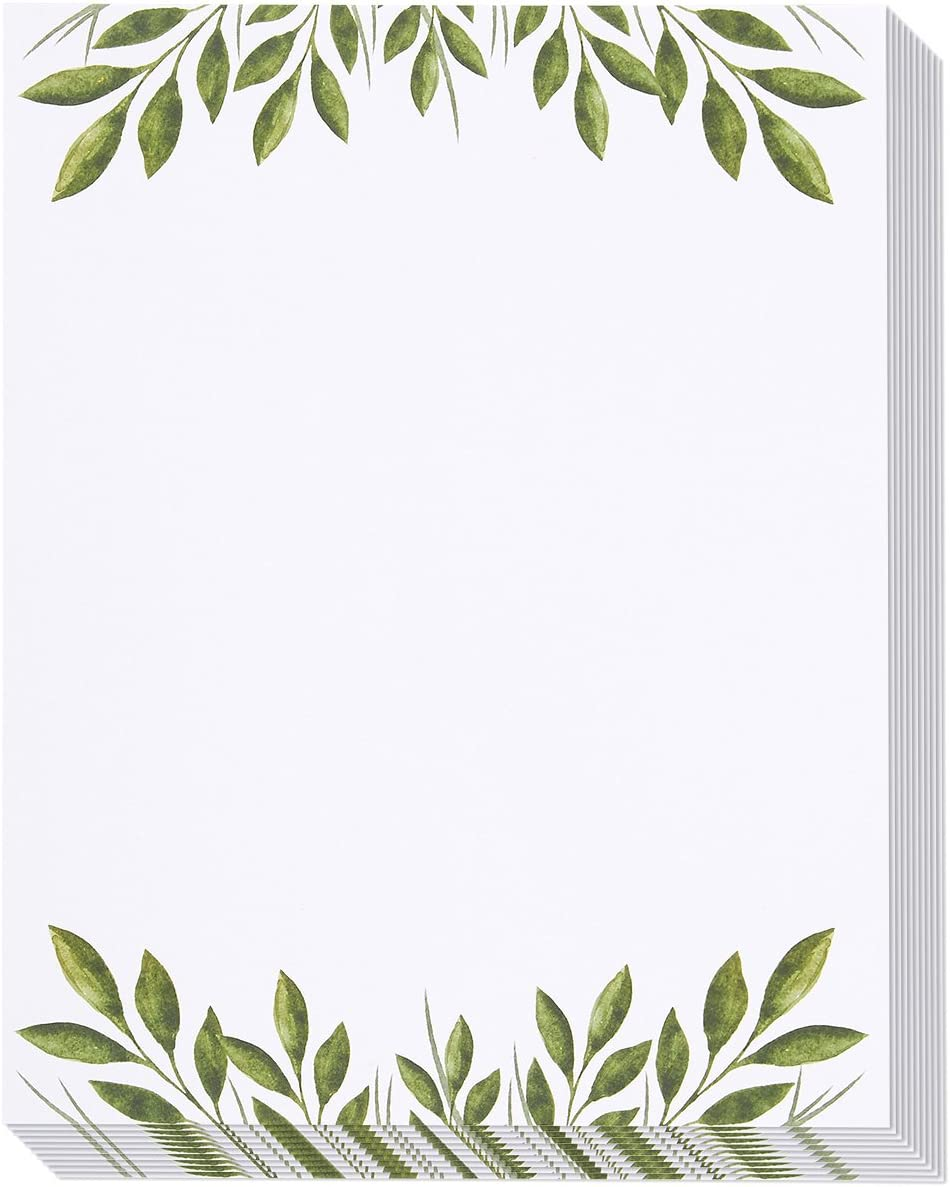 Leaf Themed Stationery Paper, Letter Size (8.5 x 11 Inches, 48-Pack)