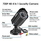 ZOSI 720P HD 1280TVL Hybrid 4-in-1 TVI/CVI/AHD/960H CVBS CCTV Camera 24PCS IR-LEDs Home Security Day/Night Waterproof Camera Aluminum Metal Housing For HD-TVI, AHD, CVI, and CVBS/960H analog DVR