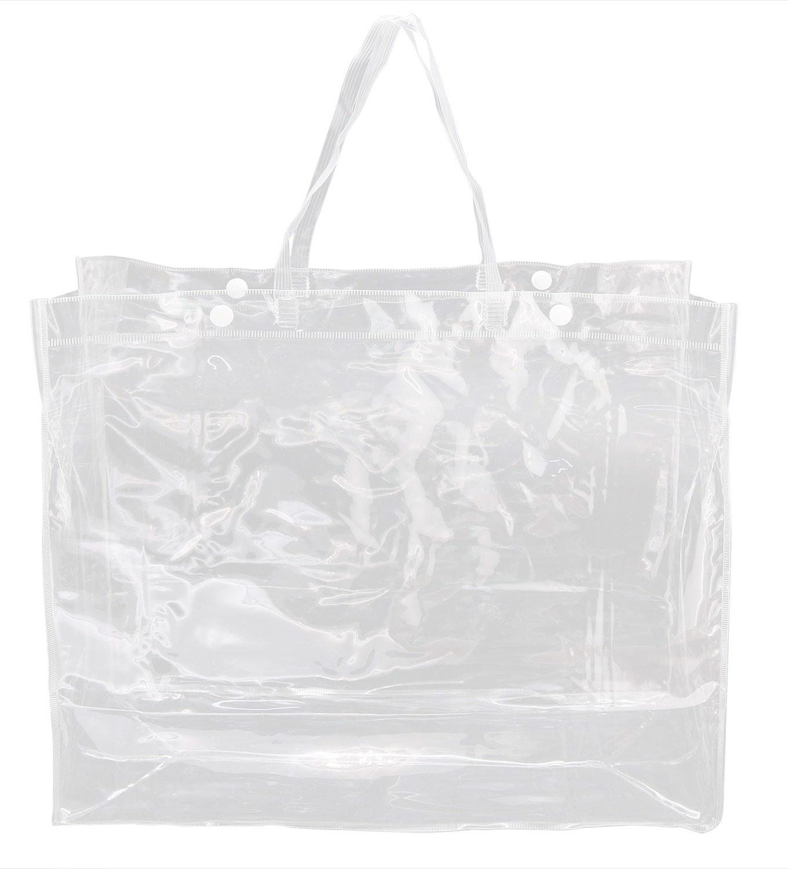 Clearバンドルパックのトートバッグbags- 100 %クリアPVCラージビーチトート学校ハンドバッグボタン留め 透明 B07D7FV5QM  3-pack clear
