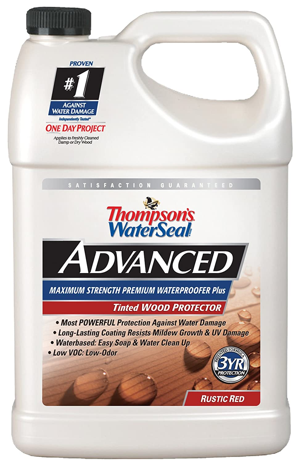 2. Thompsons Water Seal A21741 1-Gallon Rustic Red Advanced Tinted Wood Protector