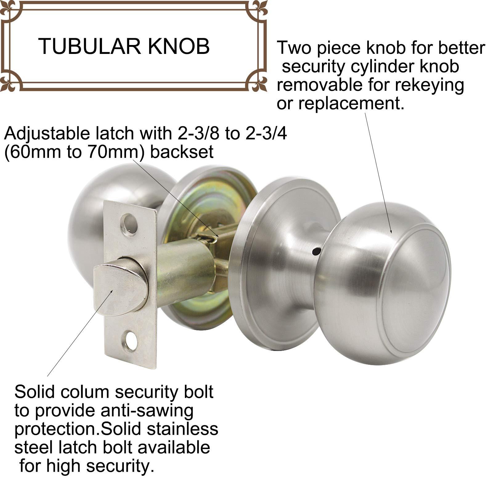 8 Pack Probrico Interior Passage Keyless Door Knobs Door Lock Handle Handleset Lockset Without Key Doorknobs Satin Nickel for Hall/Closet-Door Knob 609 by Probrico (Image #7)
