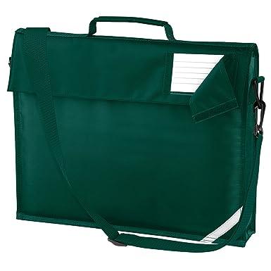 40743cd627 Classic School Book Bag Briefcase Messenger 6 Colours Strap Additional  Pockets Red Royal Blue Navy Burgundy Maroon Bottle Green Purple (Bottle  Green)  ...