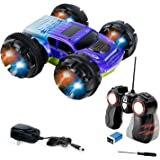 KidiRace Stunt Car, 360 Degree Spinning and Flips, Double Sided Remote Control Car - Blue