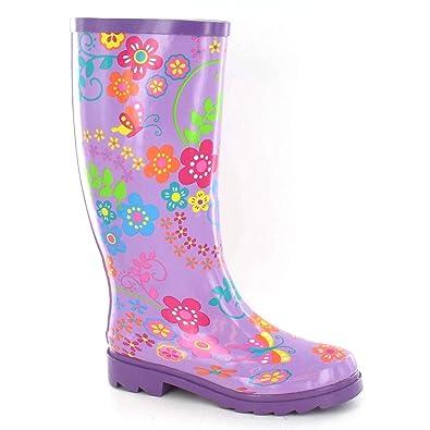 Spot On Damen Gummistiefel mit Blumenmuster (38 EU) (Violett) NsBEyfbL32