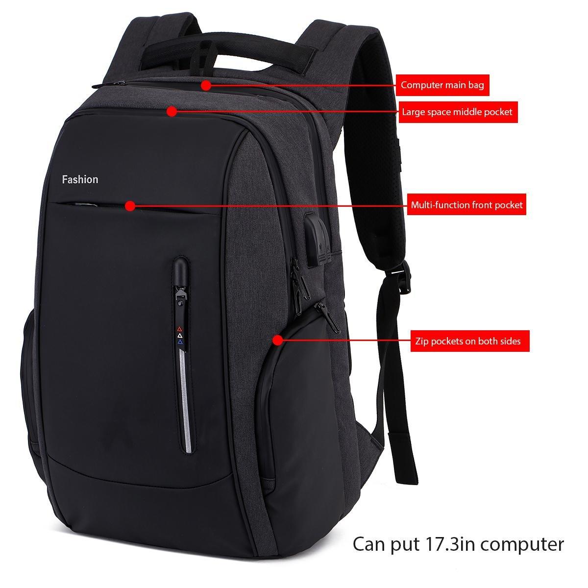 Mochila para portátiles 17 / 17.3 inch, KOBWA Mochila antirrobo Impermeable para hombres y mujeres, Anti-robo Escolares Juveniles con Puerto de Carga USB y ...