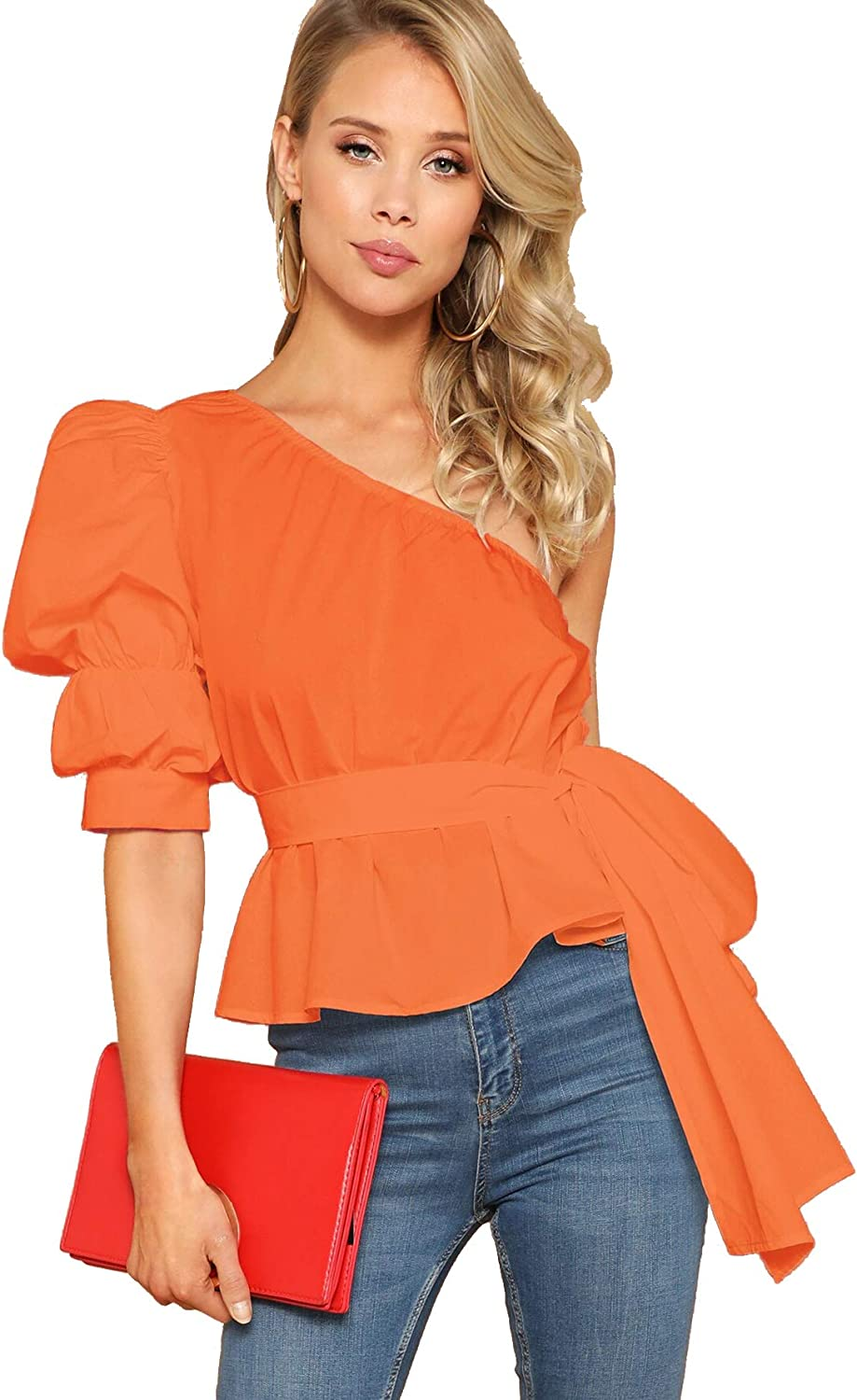 Romwe Women's One Shoulder Short Puff Sleeve Self Belted Solid Blouse Top