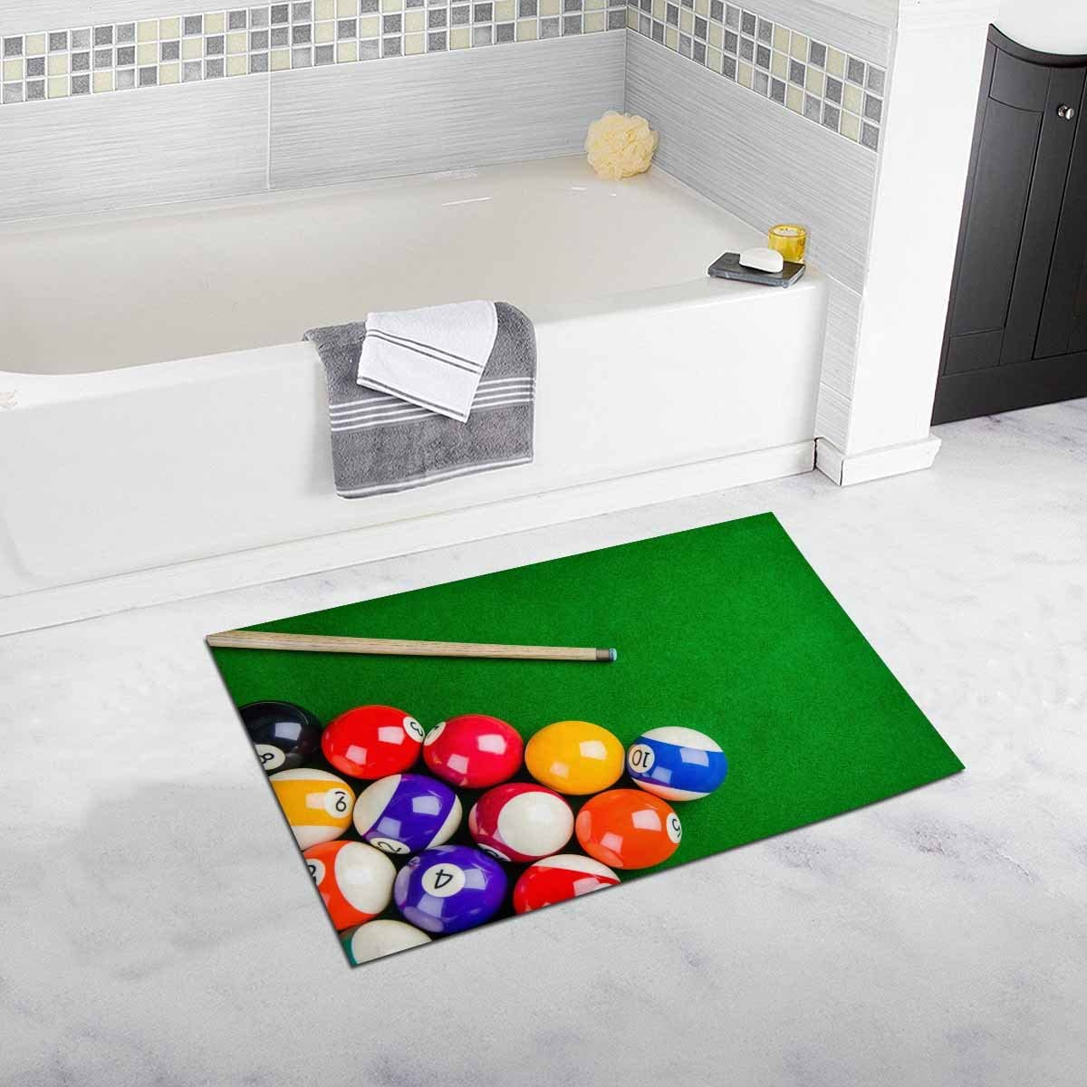 INTERESTPRINT Billiard Balls with Billiard Cue Snooker Pool Game Home Decor Non Slip Bath Rug Mats Absorbent Shower Rug for Bathroom Tub Bedroom Large Size 20 x 32 Inches