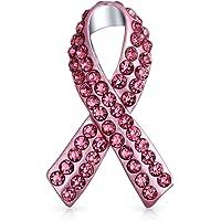 Pink Ribbon Breast Cancer Survivor Pink Crystal Pin Brooch Silver Plated
