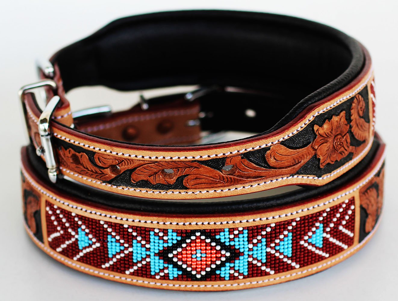 Medium 17''- 21'' Dog Puppy Collar Cow Leather Adjustable Padded Canine 6083