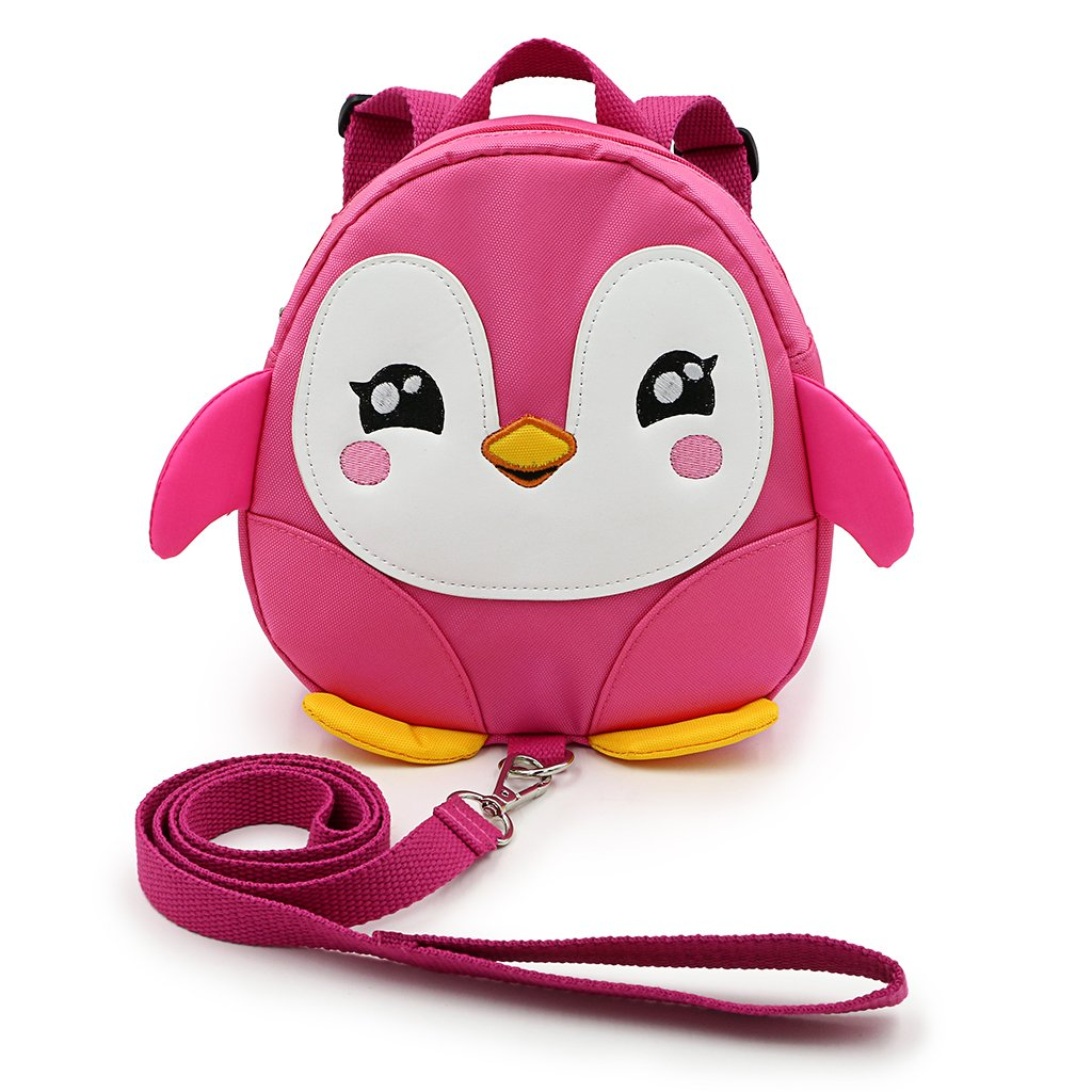 Hipiwe Baby Toddler Walking Safety Backpack Little Kid Boys Girls Anti-lost Travel Bag Harness Reins Cute Cartoon Penguin Mini Backpacks with Safety Leash for Baby 1-3 Years Old (Pink) by Hipiwe (Image #1)