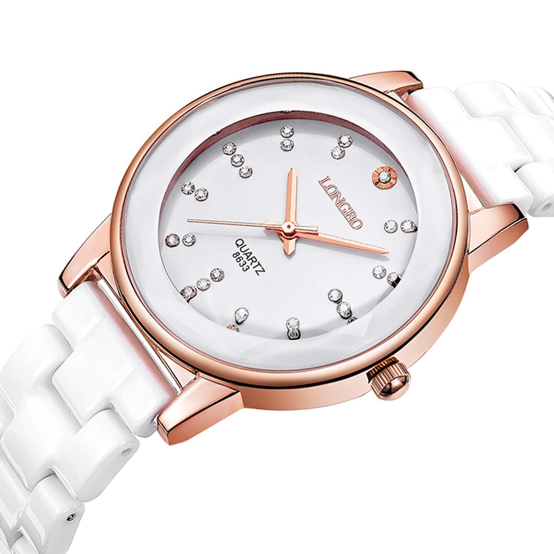 Bestn Wristwatches Women's Ceramic Diamond Shell Dial Quartz Crystal Watch (Rose Gold)