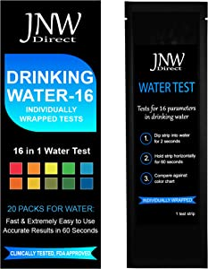 JNW Direct 16 in 1 Water Test Kit for Drinking Water, Individually Packaged, Fast Easy & Accurate Results with Mobile App, Simple at Home Water Testing to EPA Standards (20 Packs)