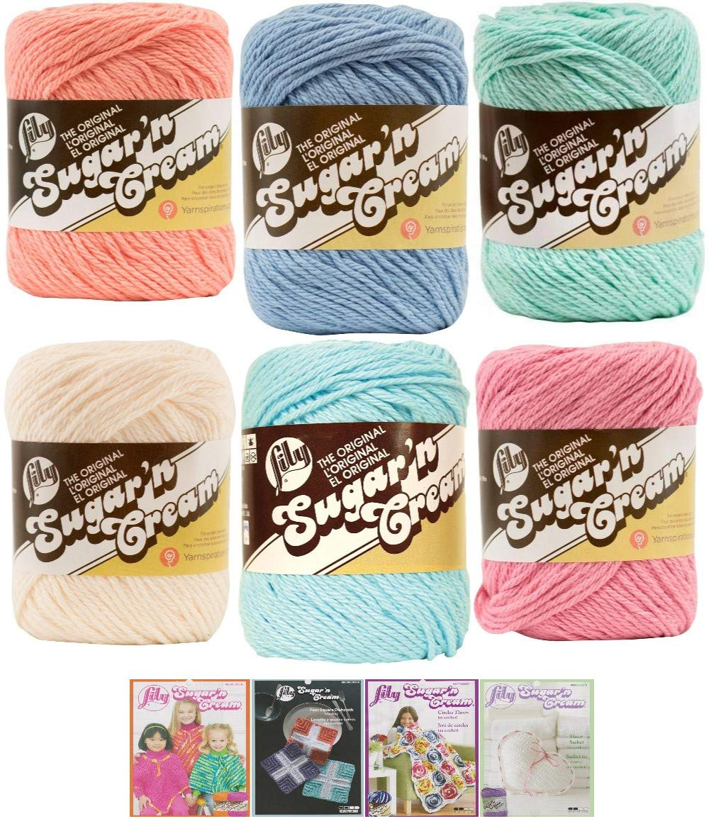 Lily Sugar n' Cream Variety Assortment 6 Pack Bundle 100% Cotton Medium 4 Worsted with 4 Patterns (Asst 62)