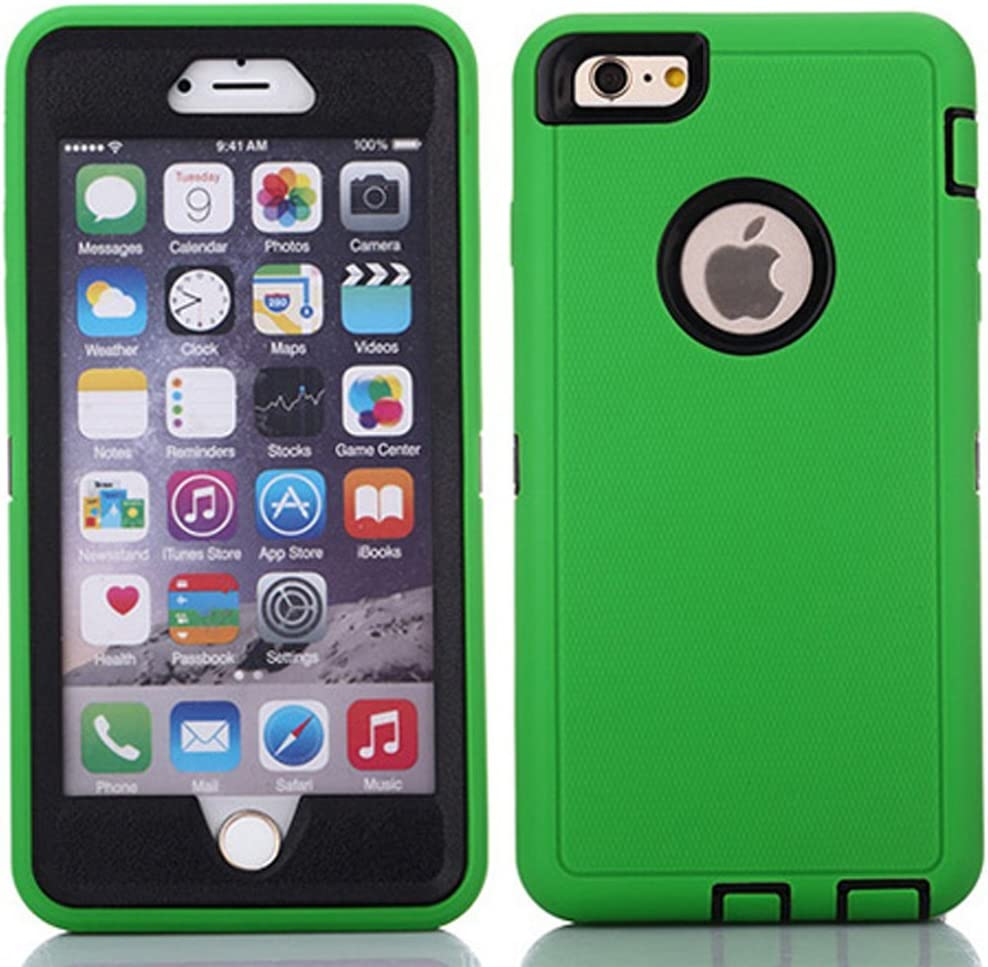 "Crosstreesports iPhone 6 Case iPhone 6s Case Heavy Duty Shockproof Series Case for iPhone 6/6S (4.7"")-V2 with Built-in Screen Protector Compatible with All US Carriers - Green and Black"