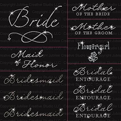 """/""""Mother of the Groom/"""" Party Rhinestone Transfer Hotfix Iron on with a Free Gift"""