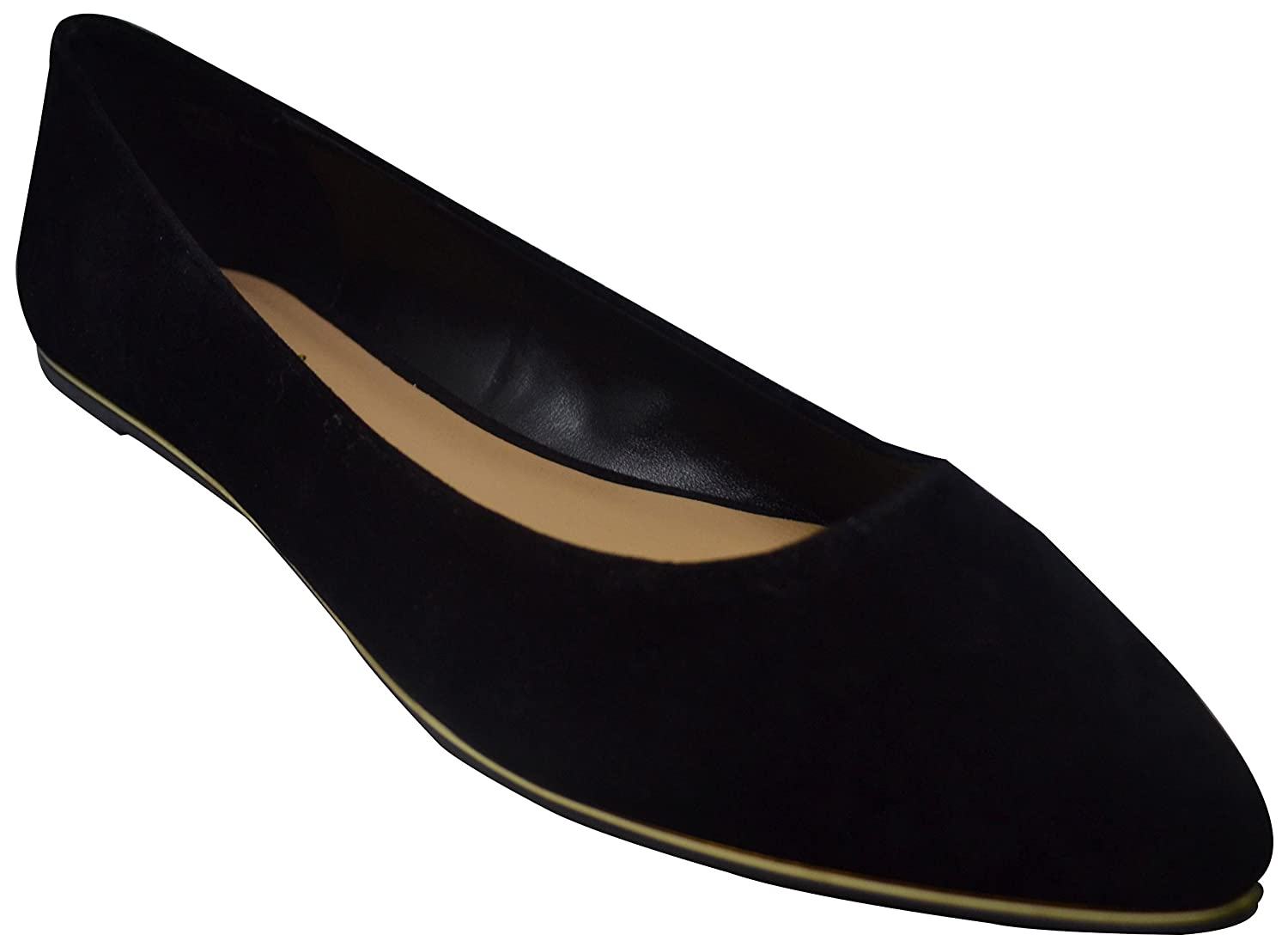 BAMBOO Confess-03S Womens Pointed Toe Flats Black Su Size 6.5