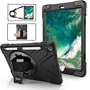 iPad 5th Generation Case for Kids | TSQ iPad 6th Generation Case with Pencil Holder Heavy Duty Shockproof | Durable Rugged Protective Case w/ Swivel Stand Hand Shoulder Strap for iPad 9.7 Inch | Black