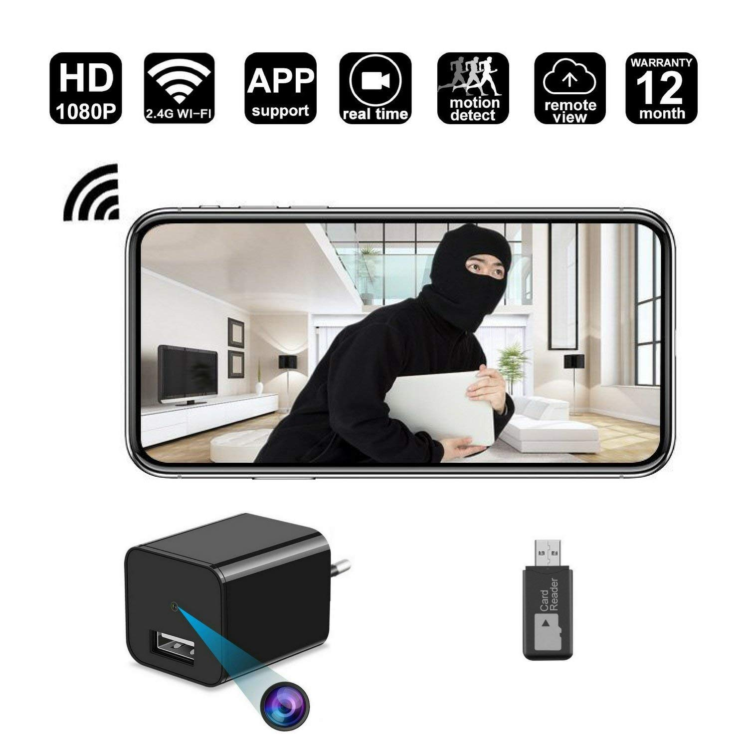Eagle Eye Gadgets 1920P x 1080P HD USB Wall Charger Hidden Spy Camera with  WiFi for Security Surveillance (Black)