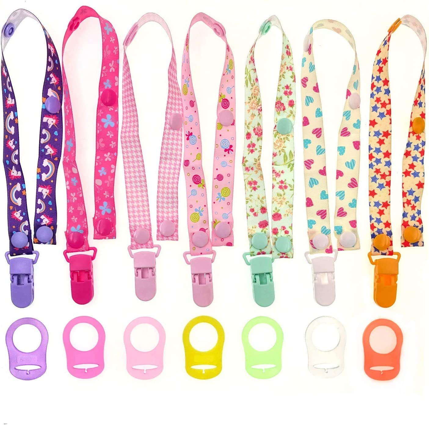7 x Pacifier Clip Dummy Holder Straps for Girls Suitable for Baby mam soothers JZK 7 x Multicolor Silicone Baby Dummy Clip Ring for Girls