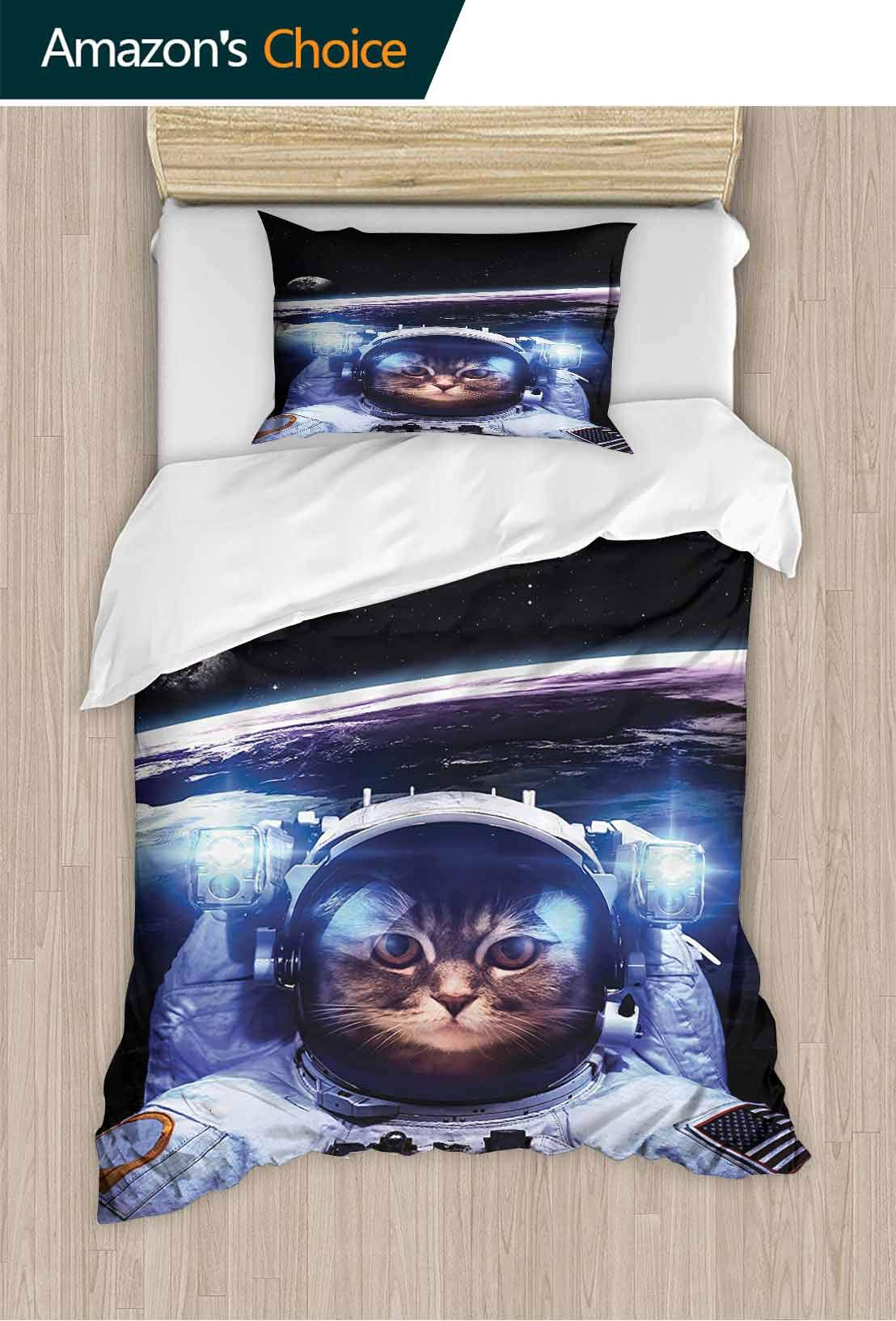 PRUNUSHOME Fashions Home Bedding Astraut Cat Above Earth in Outer Space Explorer Kitty Missi Humor Durable Elasticity King