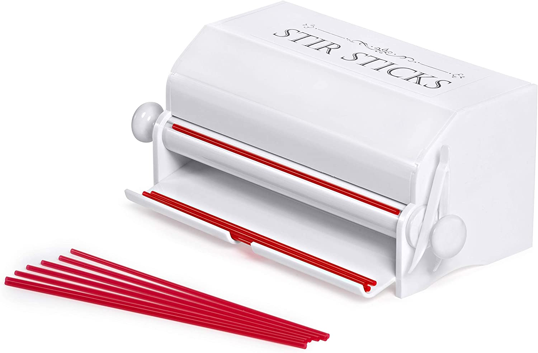 SimplyImagine Stir Stick Dispenser - Plastic Stirrer Use ONLY - Coffee Stirrer Dispenser Storage for Long Plastic and Cocktail Drink Stirrers, For Restaurant, Home, or Business Use