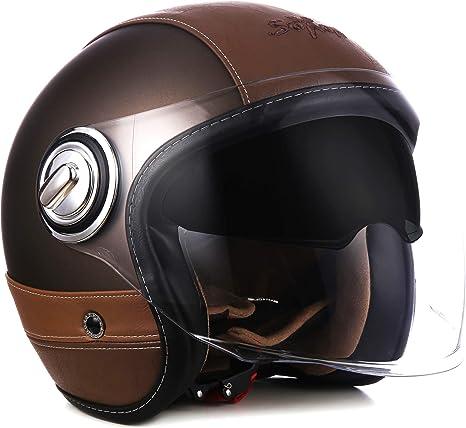Soxon Sp 888 Pro Urban Bronze Jet Helm Motorrad Helm Roller Helm Scooter Helm Moped Mofa Helm Chopper Ece 22 05 Sonnenvisier Leather Design Schnellverschluss Slimshell Tasche S 55 56cm Auto