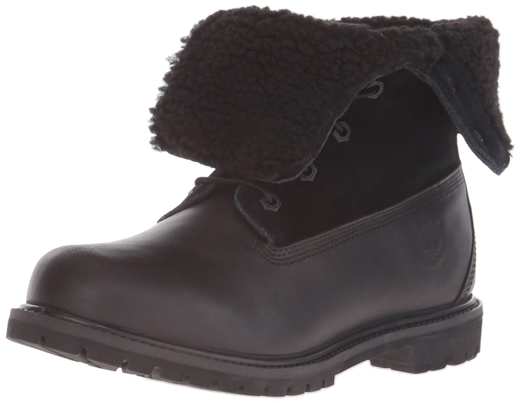 Timberland Women's EK Authentics Teddy Fleece WP Snow Boot,Black/Black,8 M US