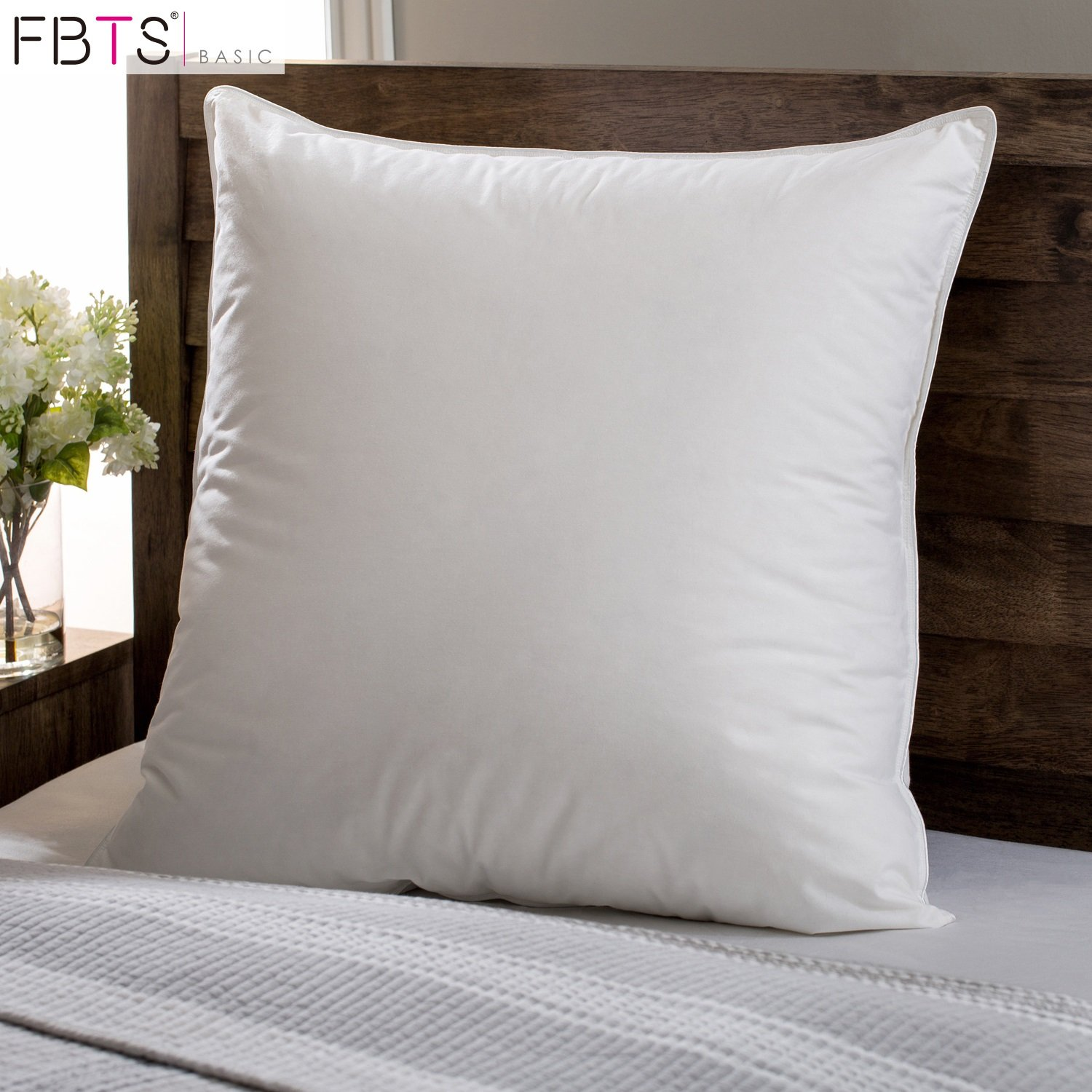 FBTS Basic 95% Feather 5% Down Pillow Insert 18 x 18 Square Sham Stuffer Premium Hypoallergenic Form Cotton Down Proof Shell Decorative Cushion Sofa and Bed Pillows by