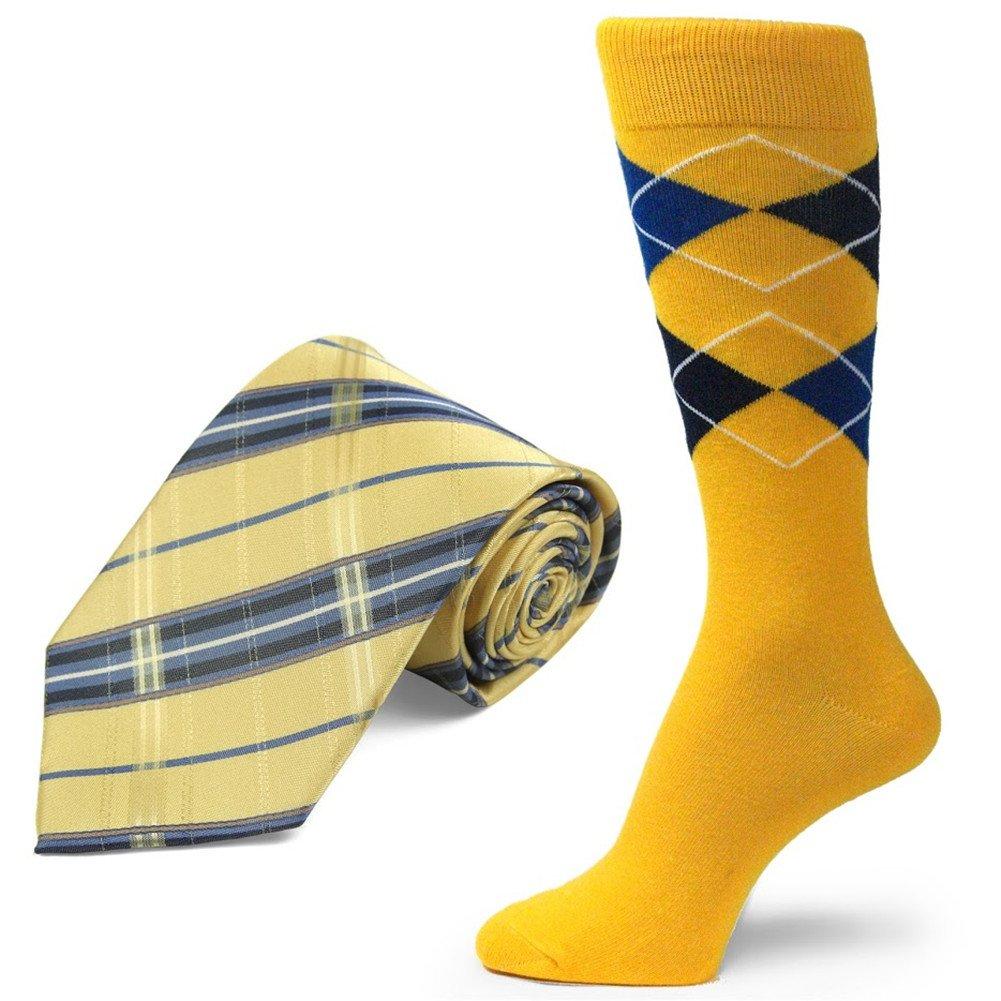 Spotlight Hosiery brand Men's Dress Socks &Necktie Set Golden Yellow/Navy Blue/Royal Blue