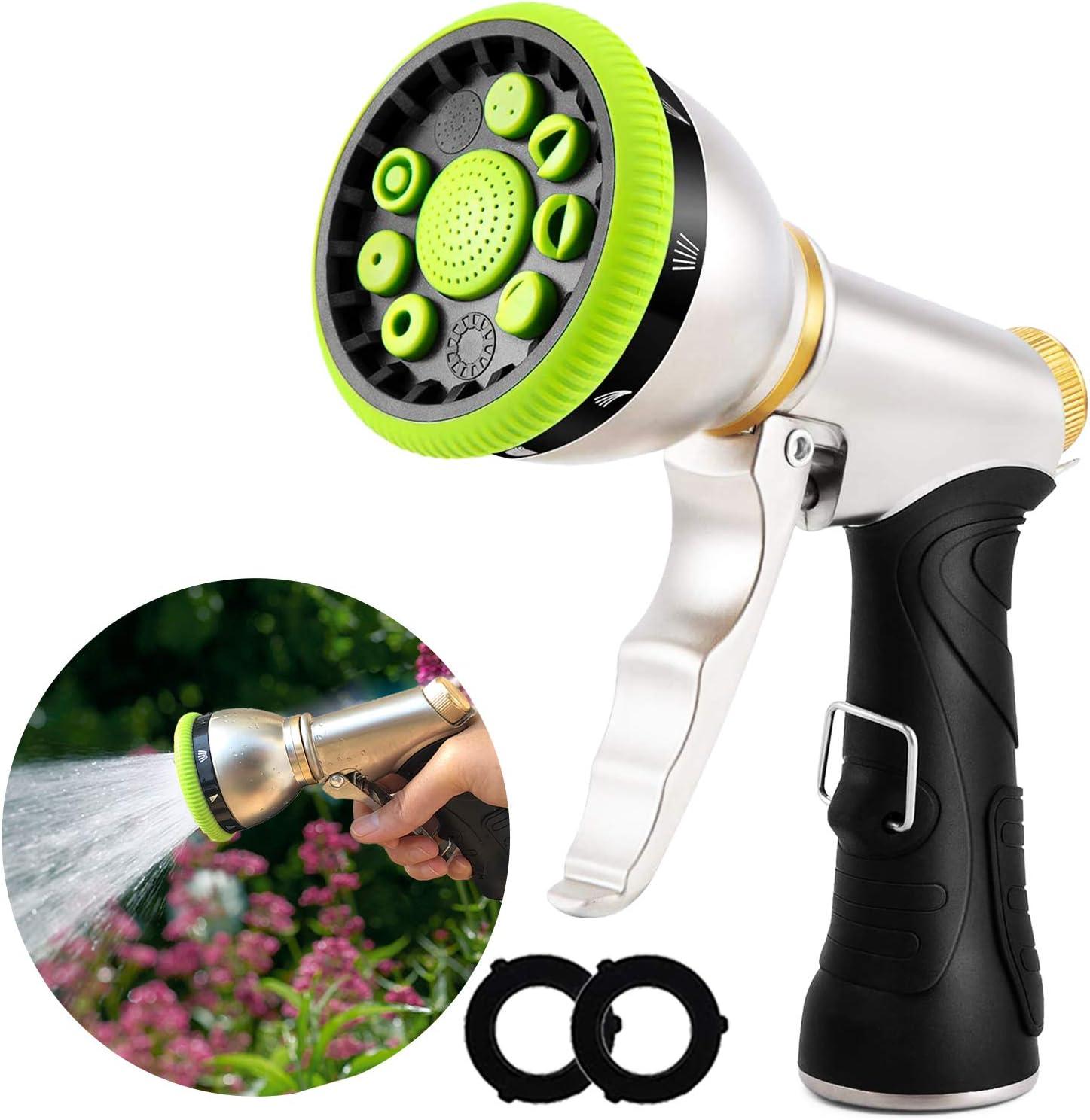 Hose Nozzle, Garden Hose Nozzle Sprayer High Pressure Jet Water Hose Nozzle Head Heavy Duty Metal for Garden Hose 9 Adjustable Spray Patterns