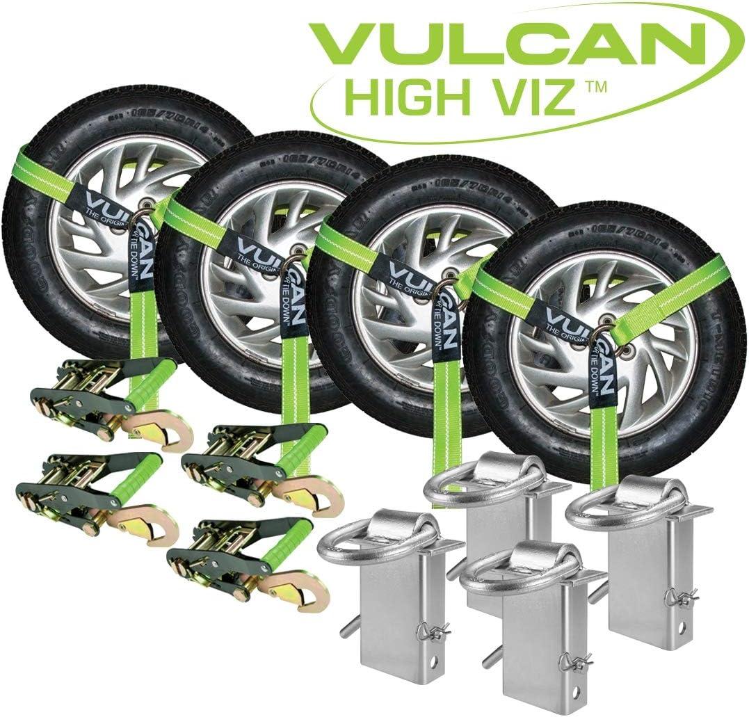 VULCAN Lasso Style Snap Hook Vehicle Tie Down Kits with Heavy Duty Stake Pocket D Rings High-Viz