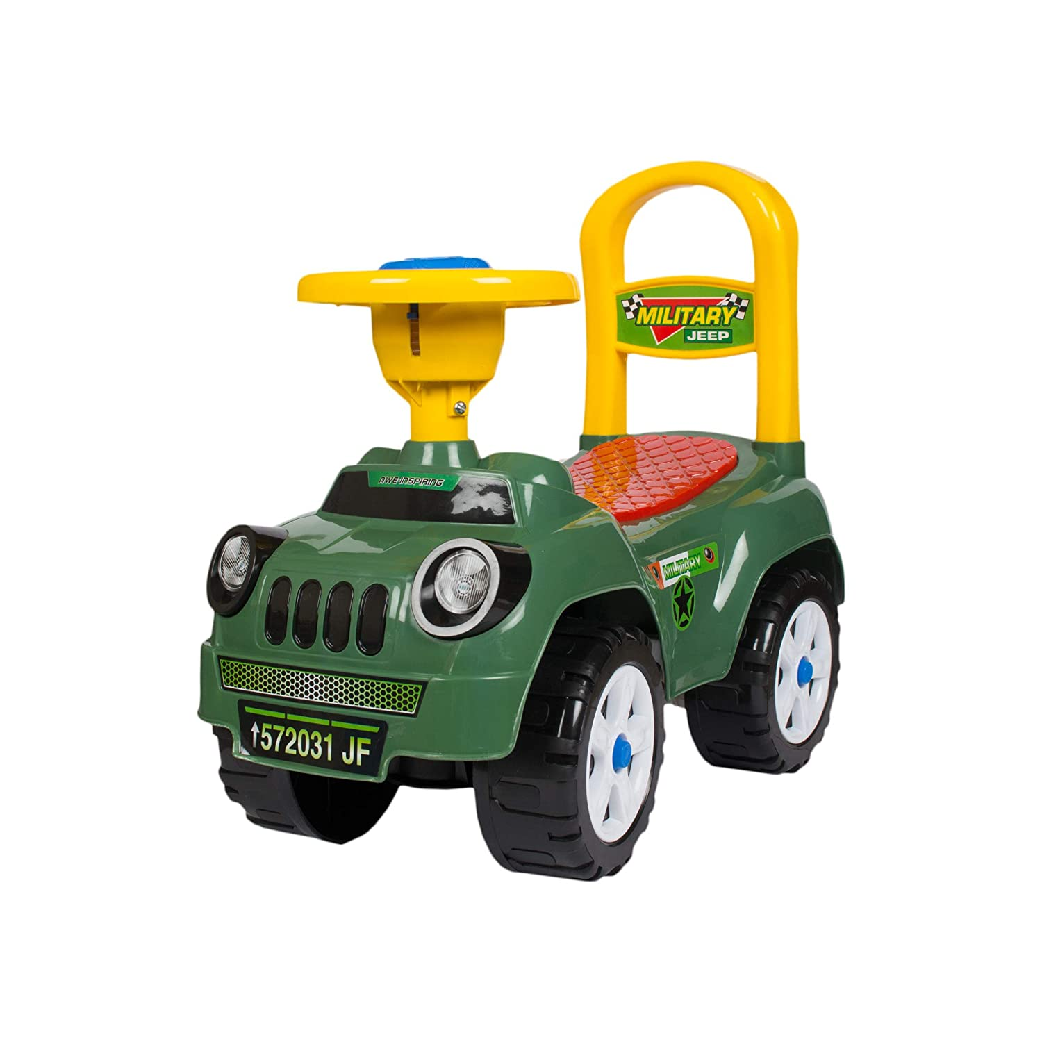 Toys Treasure Highland Jeep Ride On, Baby Car, Kids Car, Toy Car, Push Car with Whistle Sound Toy for 1 Year Old Baby