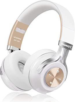 Amazon Com Bluetooth Headphones Riwbox Xbt 880 Wireless Bluetooth Headphones Over Ear With Microphone And Volume Control Wireless And Wired Foldable Headset For Iphone Ipad Pc Cell Phones Tv White Gold Home Audio Theater