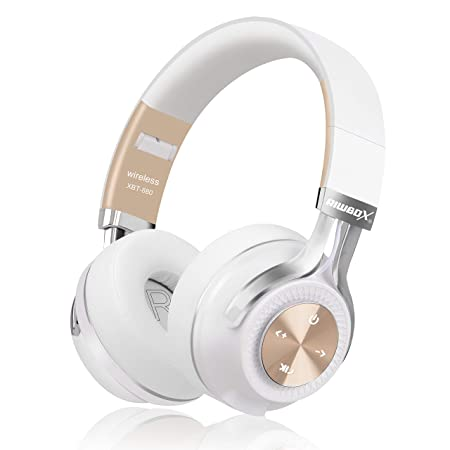Bluetooth Headphones, Riwbox XBT-880 Wireless Bluetooth Headphones Over Ear with Microphone and Volume Control Wireless and Wired Foldable Headset for iPhone iPad PC Cell Phones TV White Gold