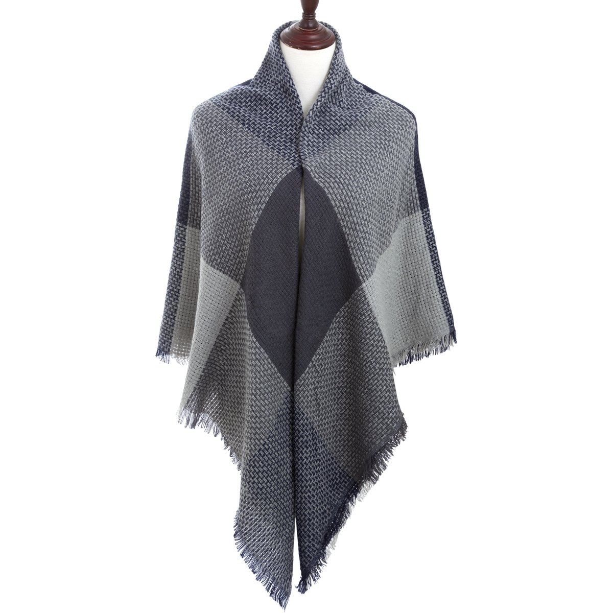 Women Square Scarf Oversized Tartan Blanket Large Winter Warm Shawl Tassel Wrap(Navy Blue2)