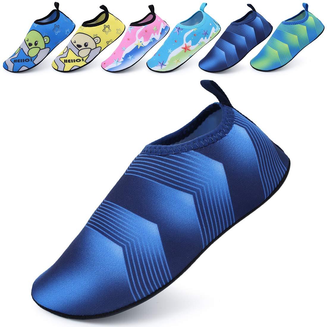 BODATU Boys' Girls' Swim Water Shoes Kids Quick Dry Barefoot Aqua Sock Shoes for Beach Pool Blue 2 32-33