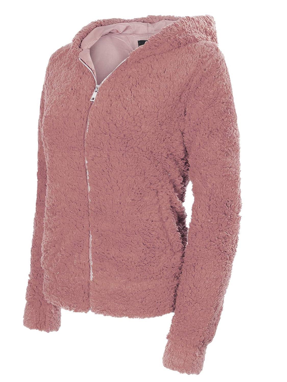 Ijkw050 Mauve Instar Mode Women's Casual Warm Fluffy Faux Fur Oversized Outerwear Jacket Cardigan