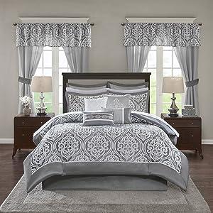 Madison Park Essentials Jordan King Size Bed Comforter Set Room in A Bag - Grey, Jacquard Damask – 24 Pieces Bedding Sets – Faux Silk Bedroom Comforters
