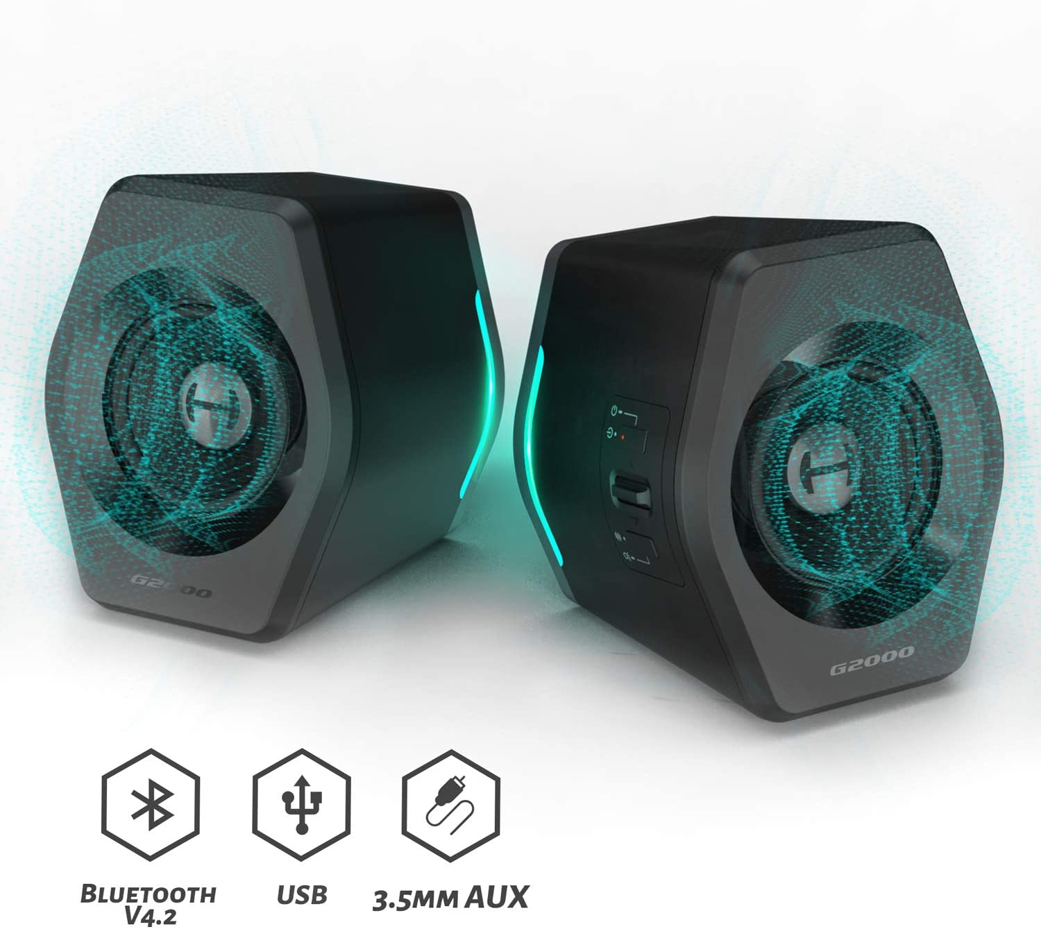 Edifier G2000 Gaming Speakers for Desktop, PC, Laptop, Mac, Computer Woofer Speakers Bluetooth, Bass Multimedia Speakers USB with subwoofer, RGB Lights, 3.5mm AUX inputs,Black
