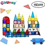 GIROMAG Magnet Stick and Stack Iward Winning 150 Piece MEGA Set Includes 1 Wheel Bases- Magnetic Block Buliding Sets Toys for Toddlers Kids Age 3+ , Magnetic Stem Tiles, Colorful