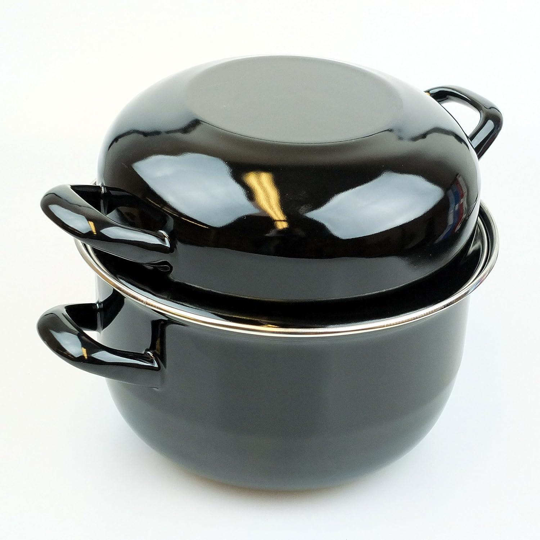 anti-adh/ésif Bid Buy Direct/® Ensemble de M/éditerran/ée Mussel pot de 18/cm traditionnel de profond avec couvercle pour Rejet/ées coquillages Induction-able