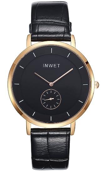 adf535658386 Inwet Clásico Hombre Reloj Analógico de Cuarzo con Negro Dial
